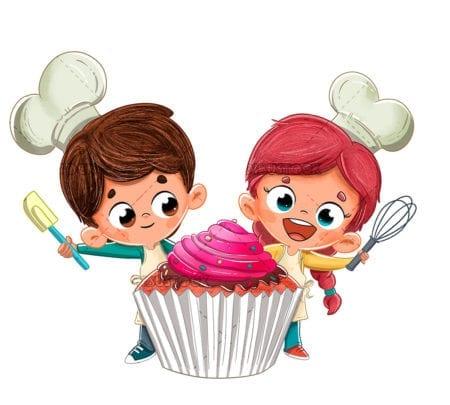 Kids making a cupcake