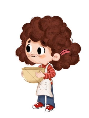 Little girl cooking holding a bowl