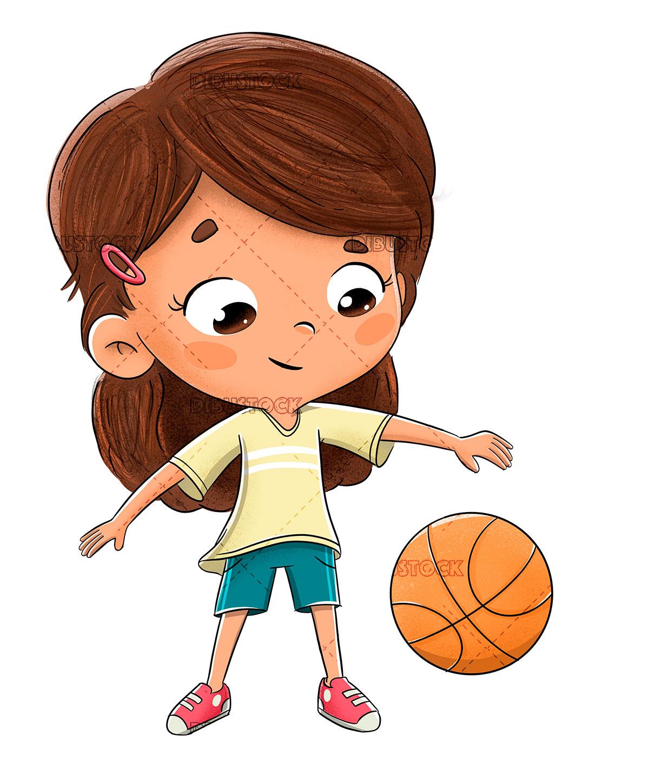 Little girl playing basketball