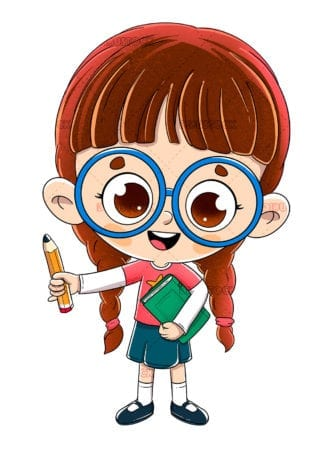 Little girl with a book and a pencil