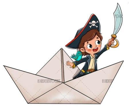 Pirate boy in paper ship