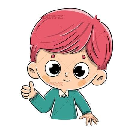 Redhead boy saying ok with thumb