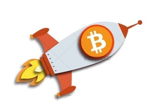 Rocket with the bitcoin symbol 1