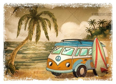 Sepia van on the beach