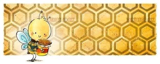 abeja con bote de miel y panal