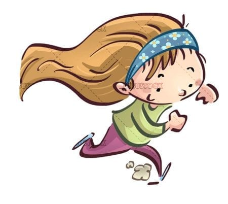 blonde girl running happy