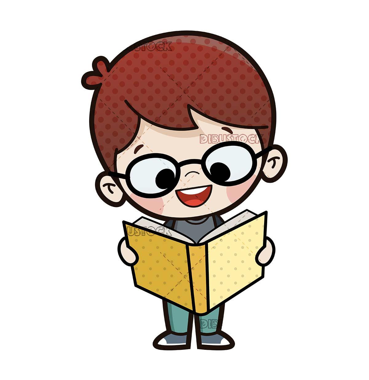 boy reading standing