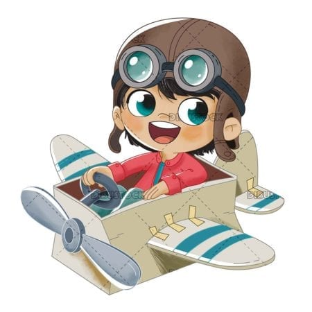 child in a color airplane box