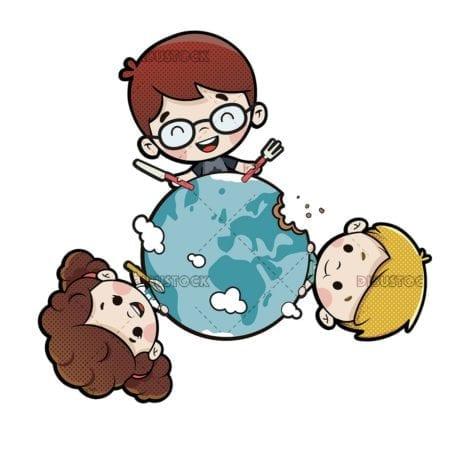 children eating the world