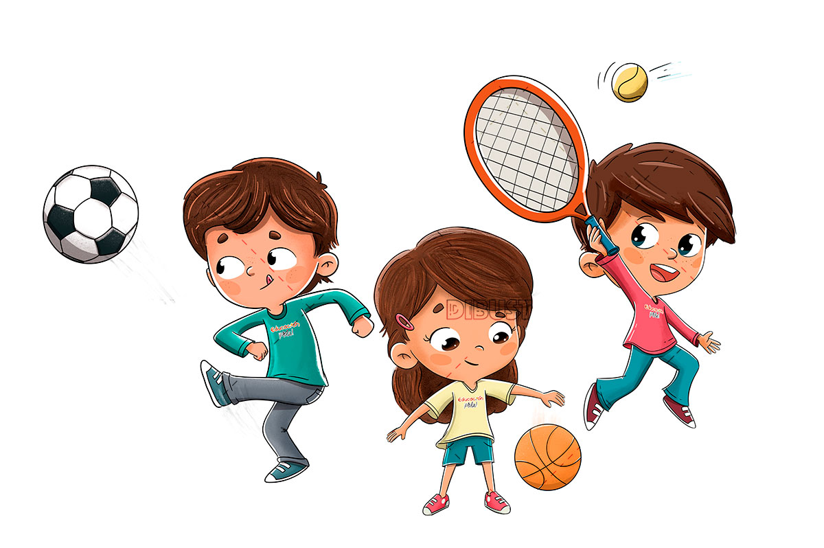 children playing tennis soccer and basketball 1