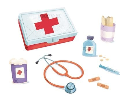 different first aid items with first aid kit