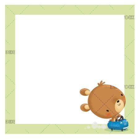 frame with an adorable teddy bear in a stroller