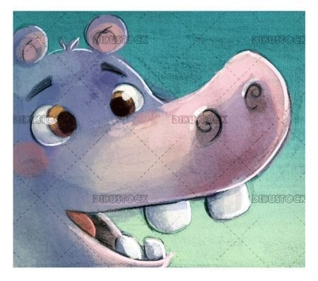 funny hippo face smiling