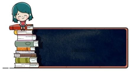 girl sitting on books
