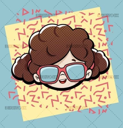 girl with square glasses
