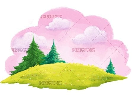 hill background with trees and clouds background