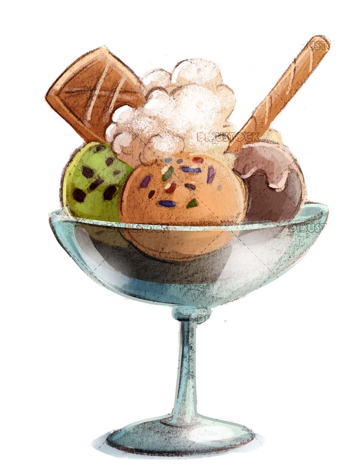 ice cream cup with different flavors and waffle