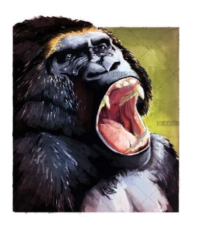 open mouth gorilla