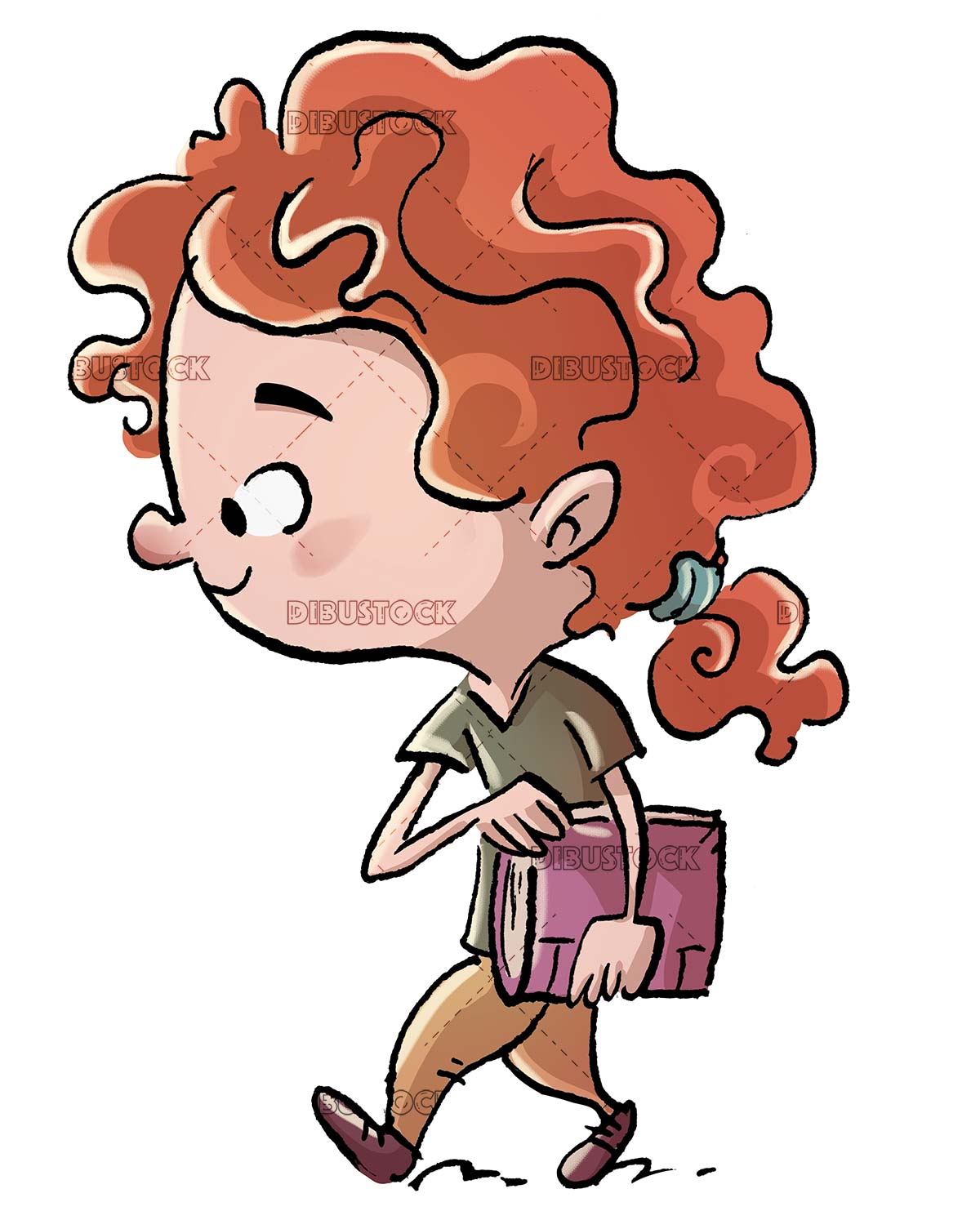 redhead girl walking with a notebook under her arm