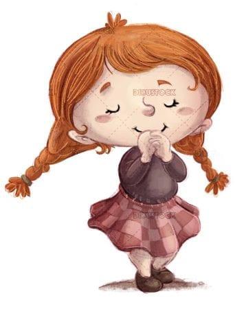 redhead girl with braids thinking something