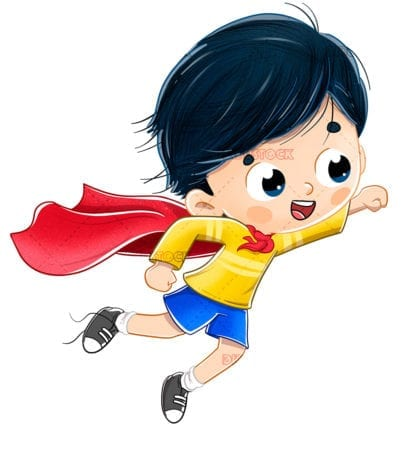 super hero boy flying with a cape