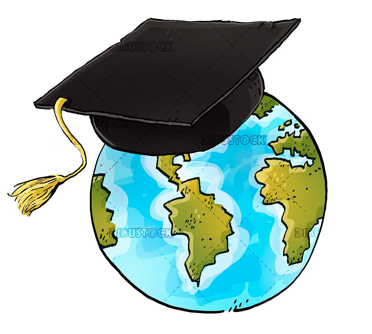 world planet with graduate hat
