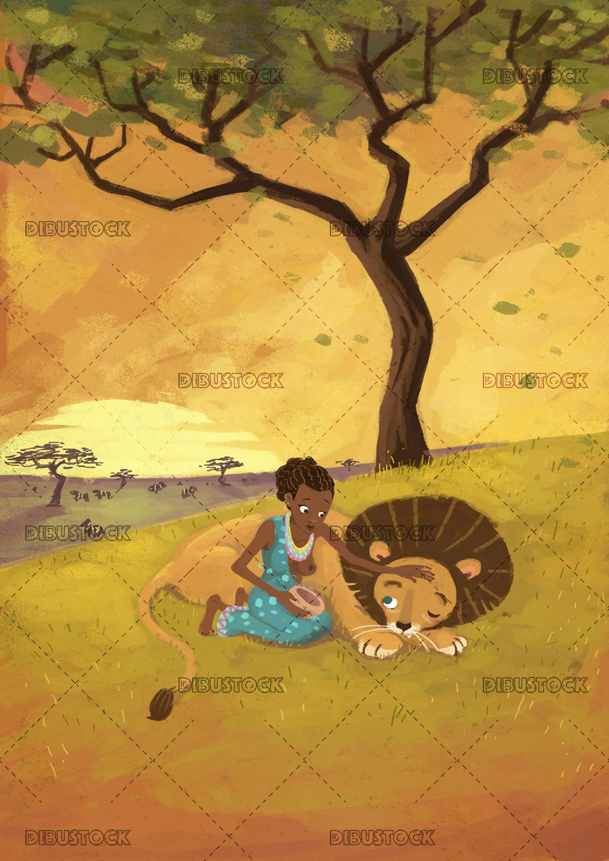 African woman with lion in the savannah