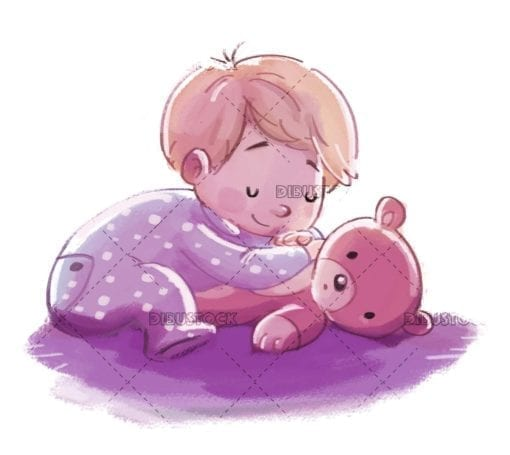 Baby sleeping with teddy bear on isolated background