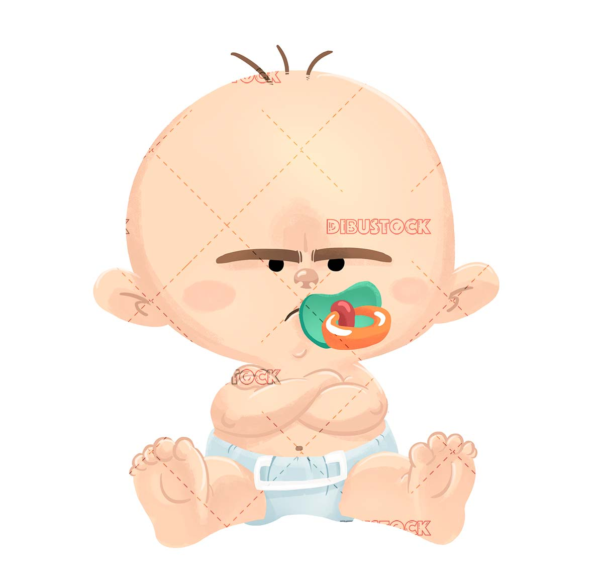 Baby with angry pacifier isolated