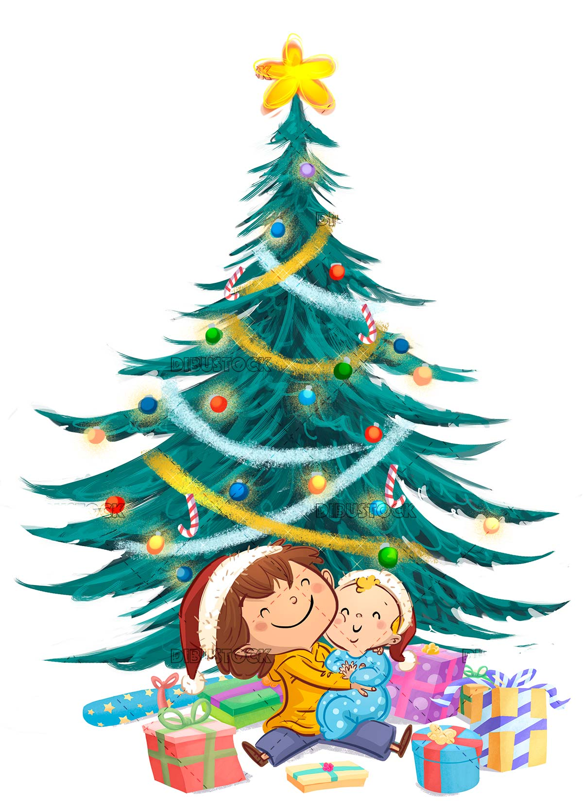 Boy and baby with Christmas gifts and ornate tree background isolated
