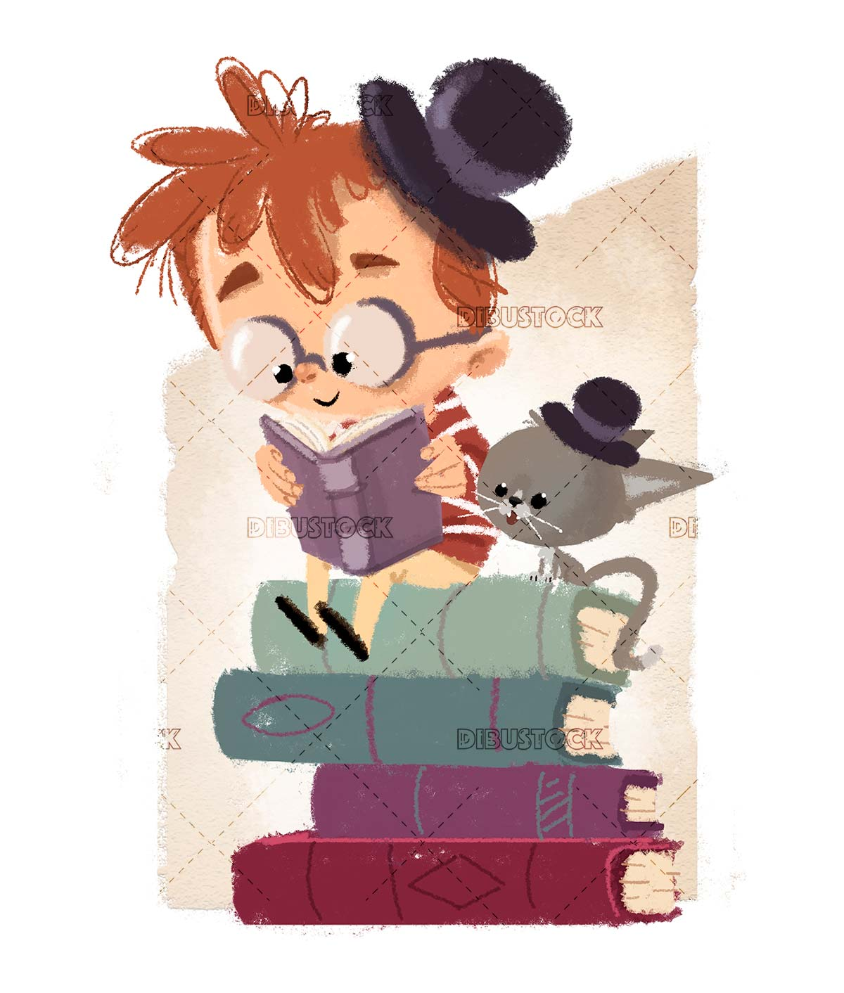Boy and cat reading climbed on top of books