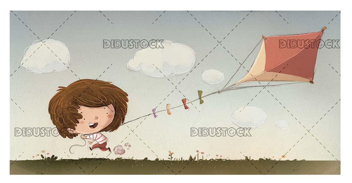Boy carrying a triangular kite running through the park