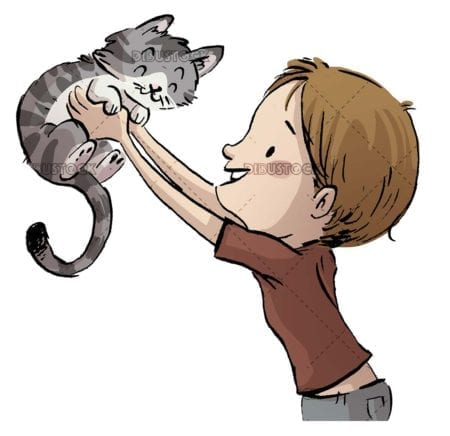 Boy catching a cat in arms with isolated background