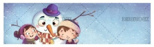 Boy face and snowman with snowing blue background