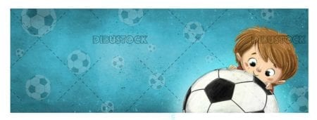 Boy face with soccer ball and blue texture background