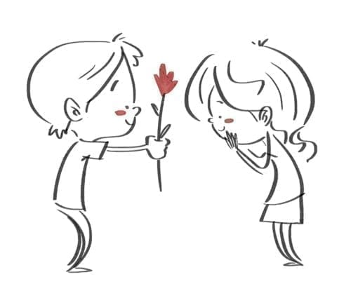 Boy giving a flower to a girl. Black line