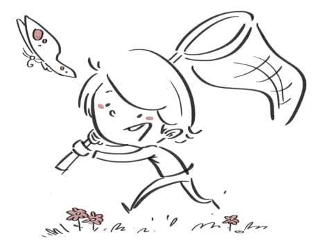 Boy hunting butterflies. Black line