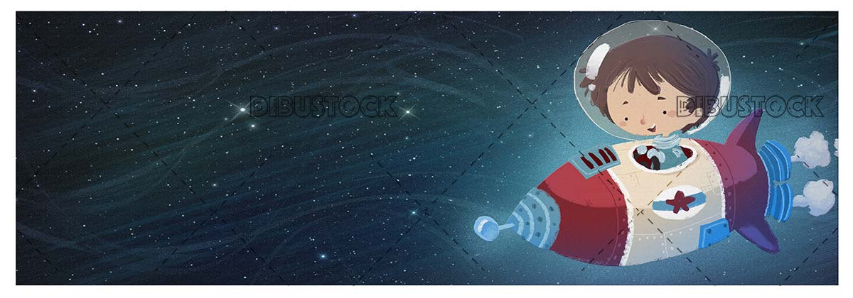 Boy in spacesuit driving a rocket over space