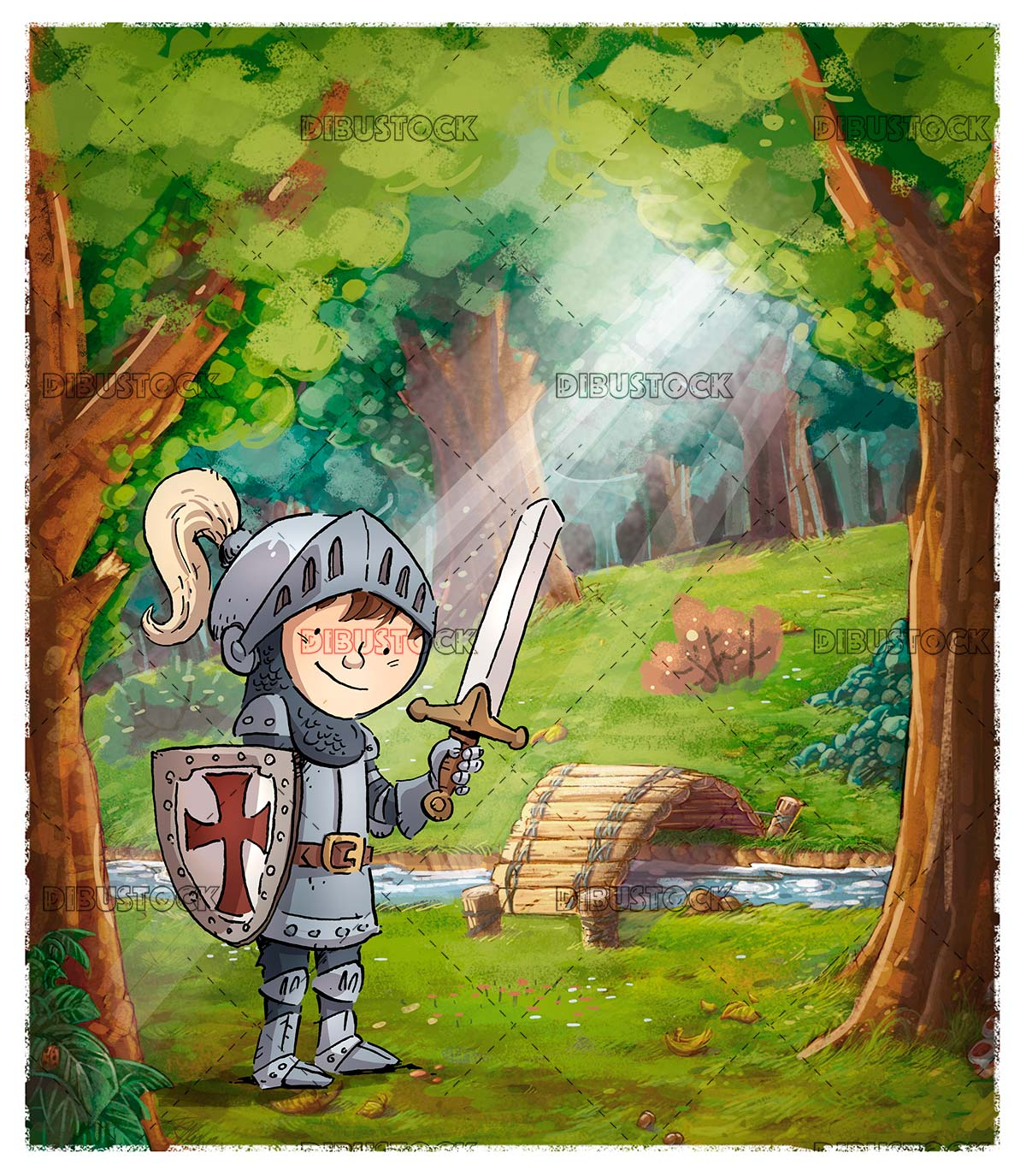 Boy knight with sword and armor in a forest with river