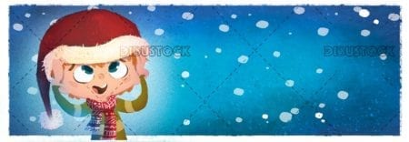 Boy putting on a Christmas hat on his head with a snowing blue background