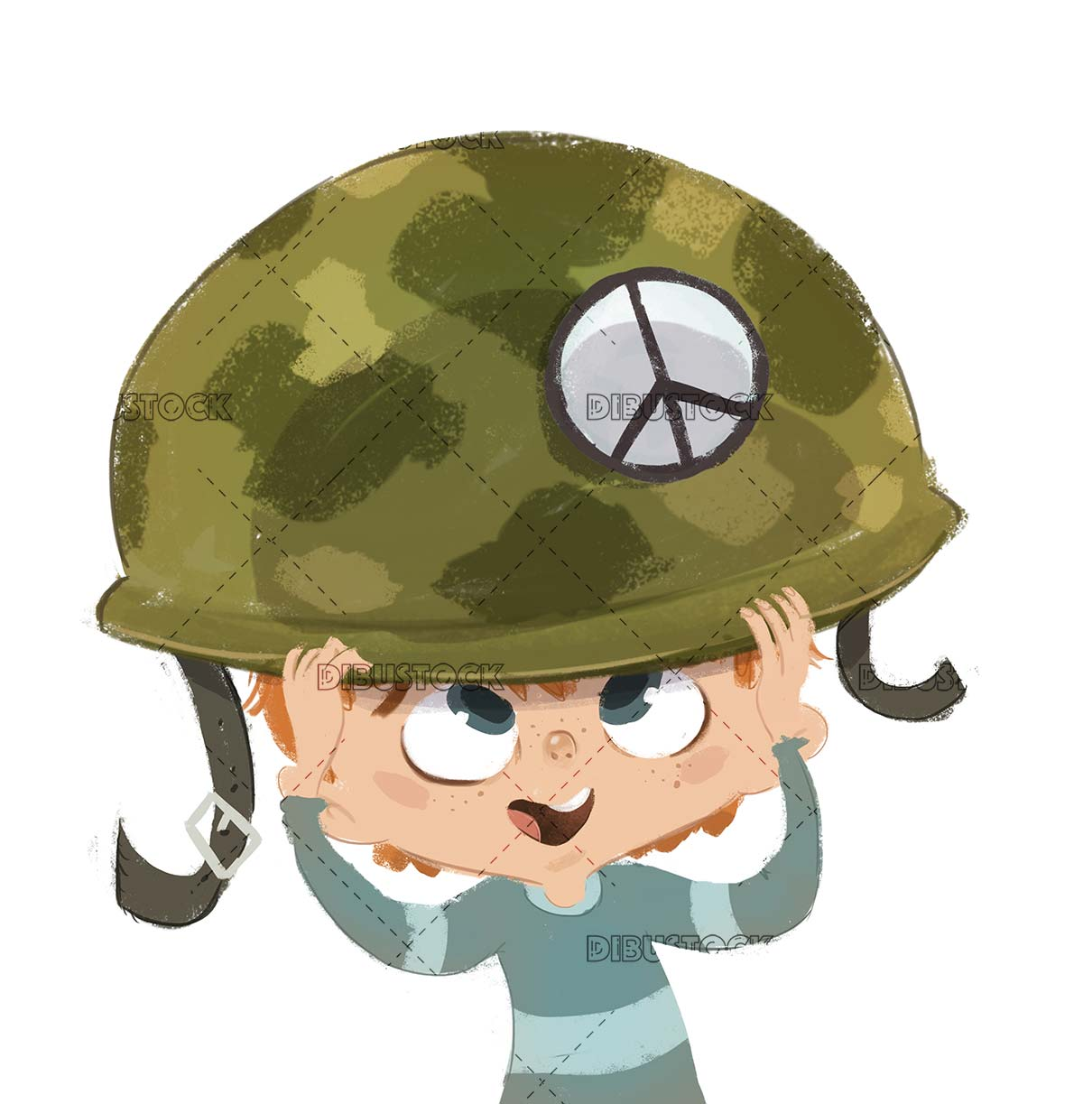 Boy putting on an army helmet with pacifist symbol