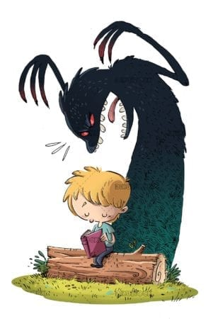 Boy reading on top of a tree trunk with monster behind