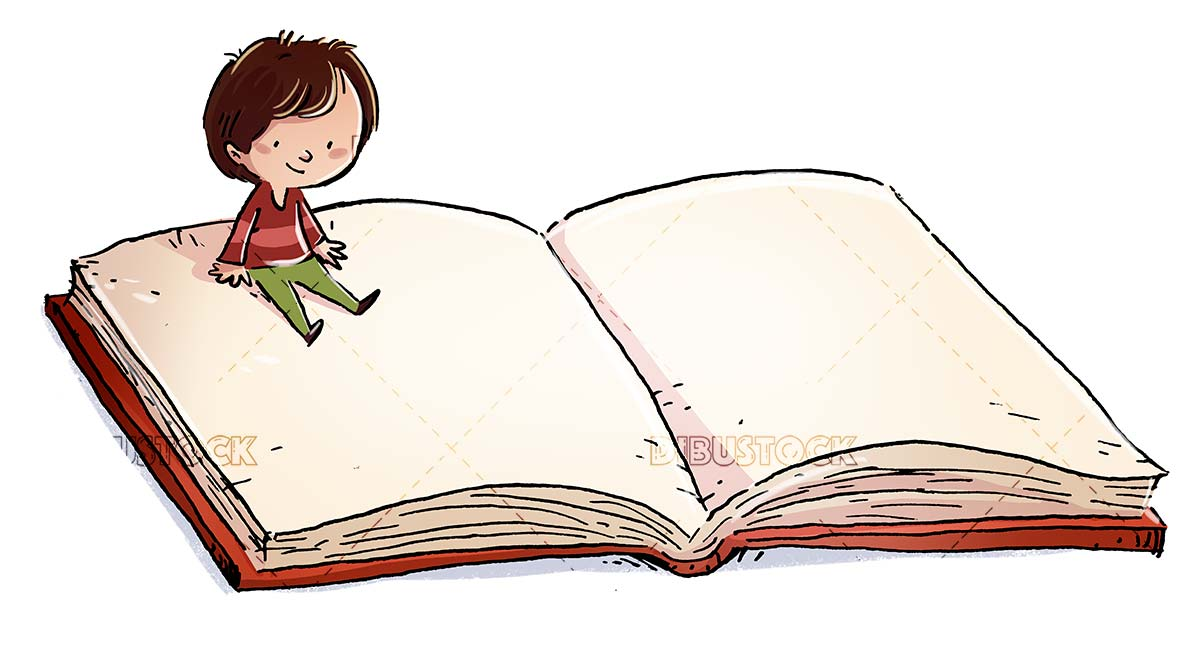 Boy sitting on a giant book with isolated background