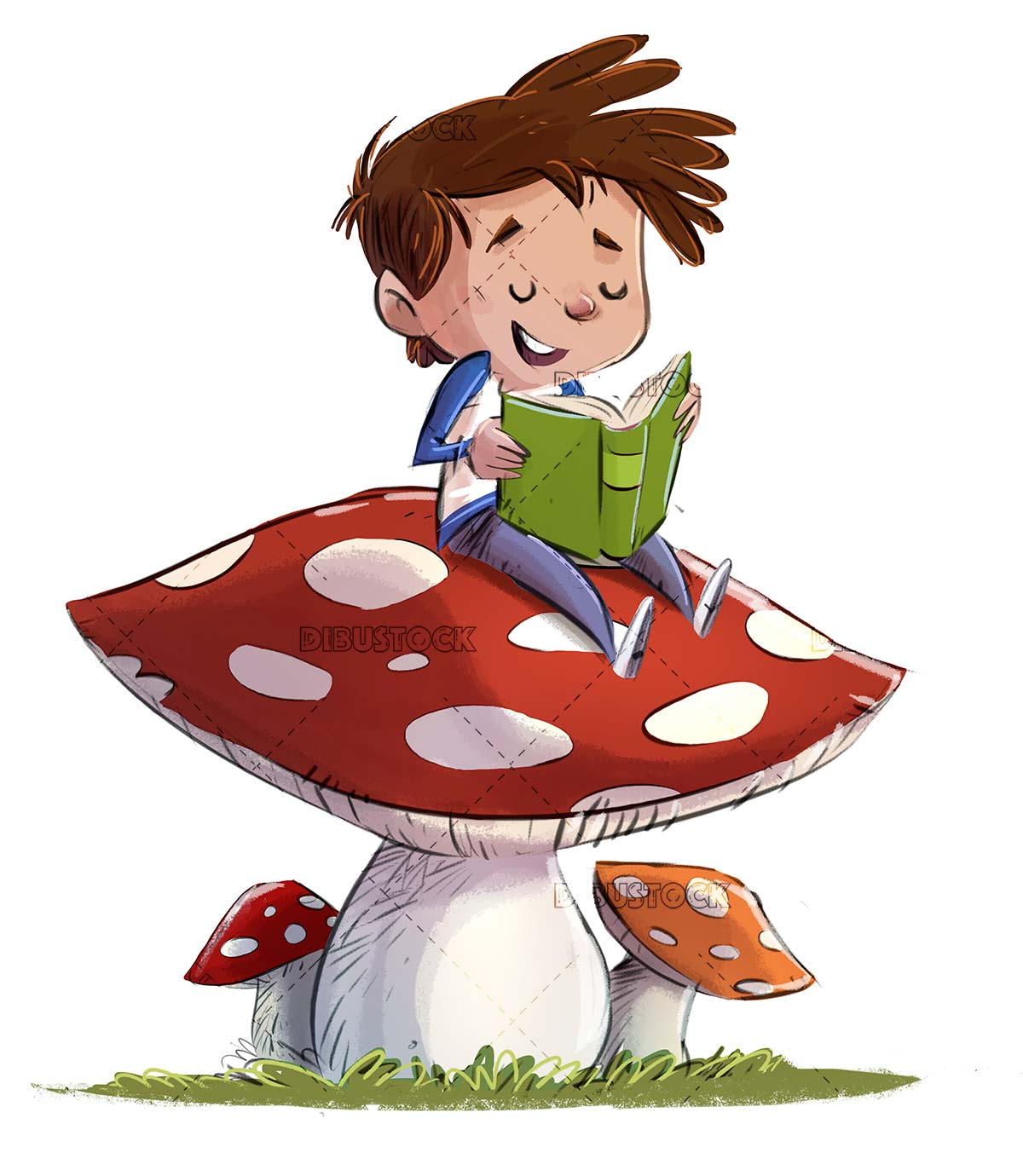 Boy sitting on top of a mushroom reading a book isolated
