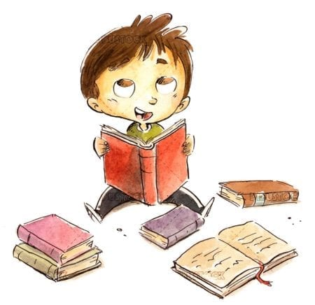 Boy surrounded by books on the floor reading happy