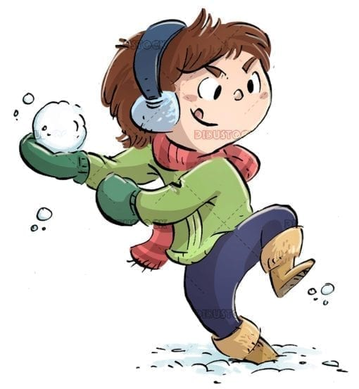 Boy throwing a snowball