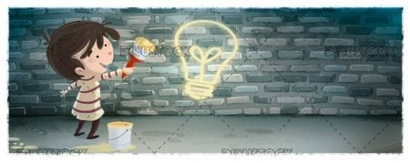 Boy with brush and paint painting a light bulb on a wall