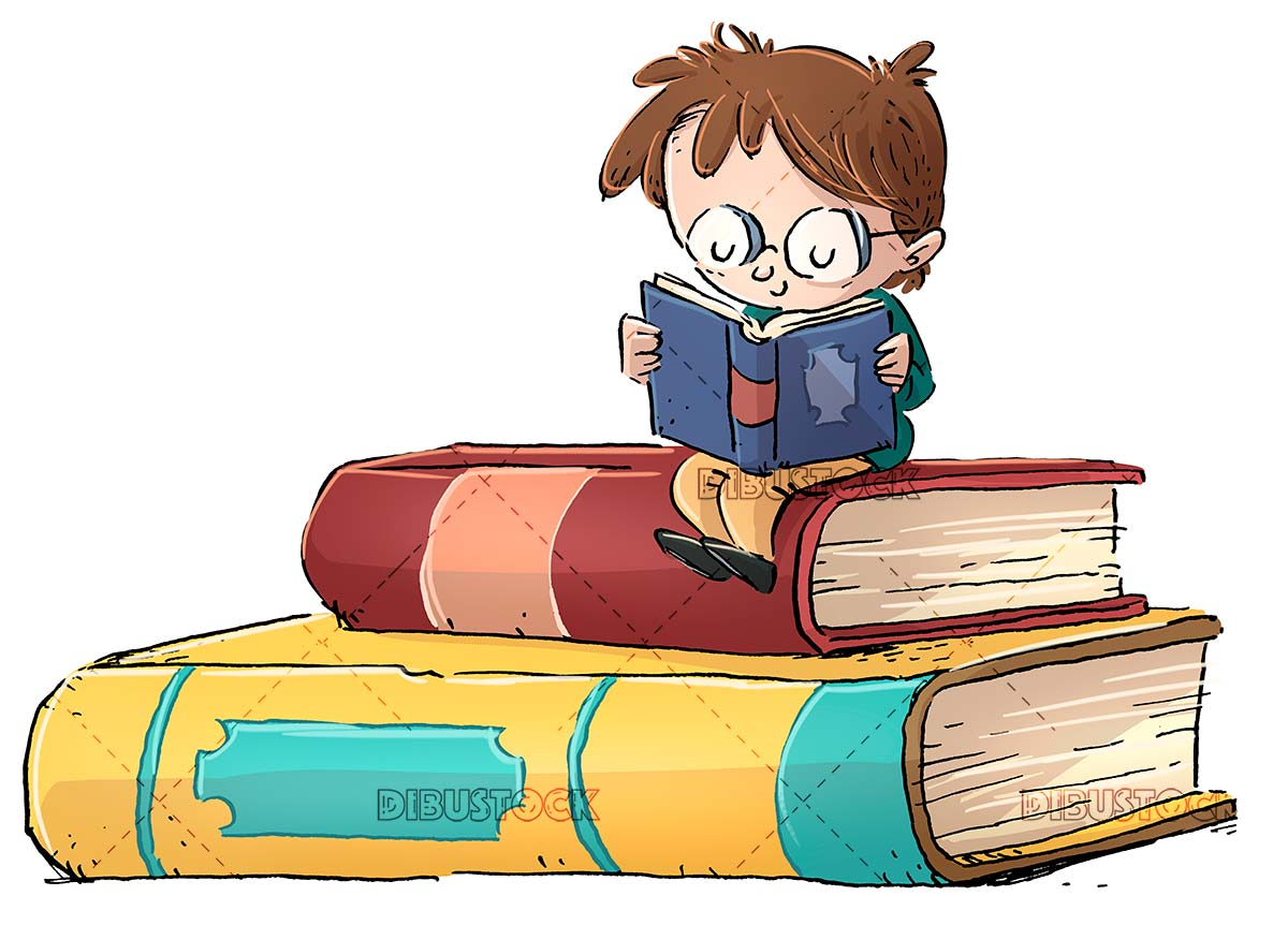 Boy with glasses sitting on giant book and isolated background