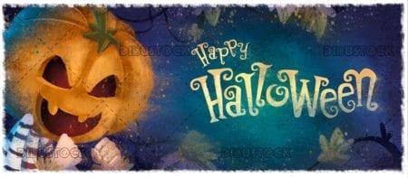 Boy with pumpkin with halloween background