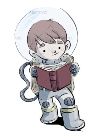 Boy with spacesuit reading a book